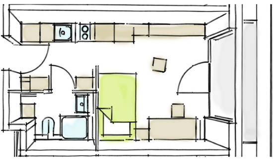 student residence floor plan comfort apartment